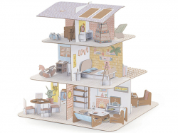 Acheter Maison de poupées en carton à monter et colorier - 23,99€ en ligne sur La Petite Epicerie - Loisirs créatifs
