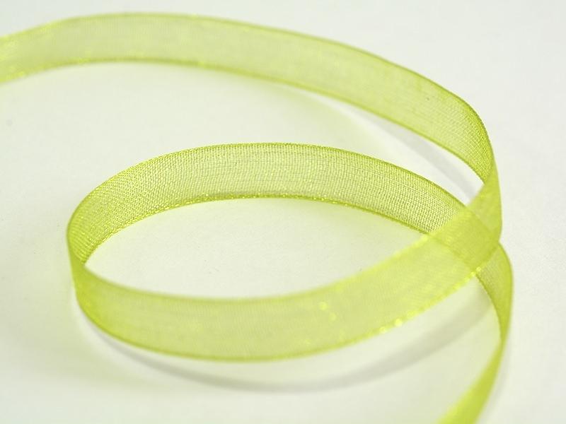 1 m of organza ribbon (6 mm) - Pistachio green  - 1