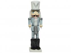 Acheter Casse-noisette en bois - argenté et blanc - moustache noire - 38 cm - 24,99€ en ligne sur La Petite Epicerie - Loisi...
