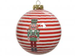 Acheter Boule de Noël - casse noisette rayures rouges - 8 cm - 2,49€ en ligne sur La Petite Epicerie - Loisirs créatifs