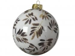 Acheter Boule de Noël - blanc - décoration feuilles - 8 cm - 2,49€ en ligne sur La Petite Epicerie - Loisirs créatifs