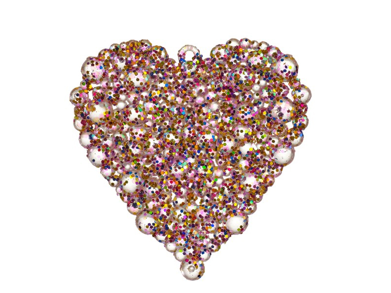 Acheter 2 suspensions décoratives pour sapin - coeurs à paillettes multicolores - 1,99€ en ligne sur La Petite Epicerie - Lo...