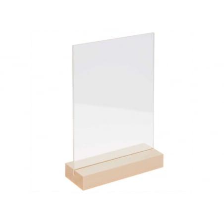 Acheter Support en bois nature avec double plaque acrylique 10 x 15 cm - 4,99€ en ligne sur La Petite Epicerie - Loisirs cré...