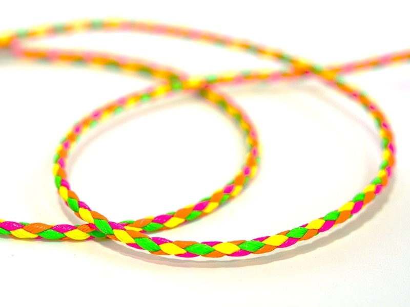 1 m of braided faux leather cord, 3 mm - neon