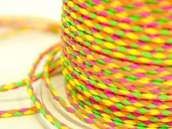 1m de cordon tressé imitation cuir 3 mm - fluo