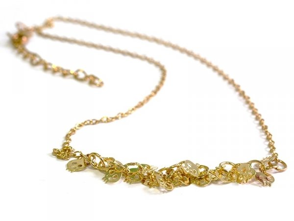 Skull necklace - gold-coloured