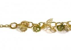 Halskette mit Totenkopfanhängern - goldfarben