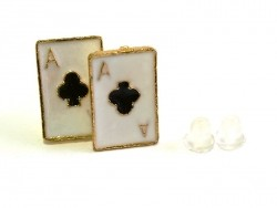 Ace of clubs earrings - gold-coloured