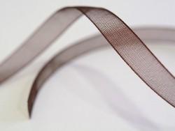 1 m of organza ribbon (6 mm) - brown  - 2