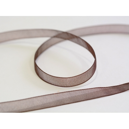 1 m of organza ribbon (6 mm) - brown  - 1