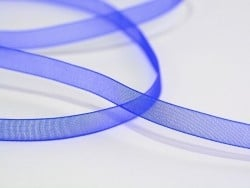 1 m de ruban organza 6 mm - bleu roi  - 1