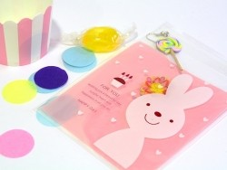 """1 plastic bag with adhesive seal - Bunny on a pink background, """"For you"""""""