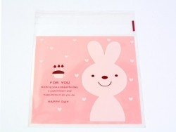 "1 sachet plastique adhésif - Lapin ""for you"" fond rose  - 1"