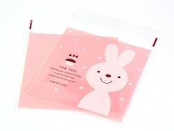 """Acheter 1 sachet plastique adhésif - Lapin """"for you"""" fond rose - 0,29€ en ligne sur La Petite Epicerie - Loisirs créatifs"""