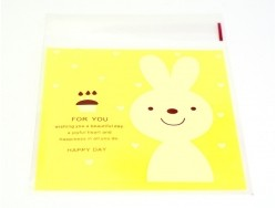 """1 sachet plastique adhésif - Lapin """"for you"""" fond jaune"""
