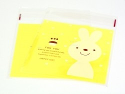 "1 sachet plastique adhésif - Lapin ""for you"" fond jaune"