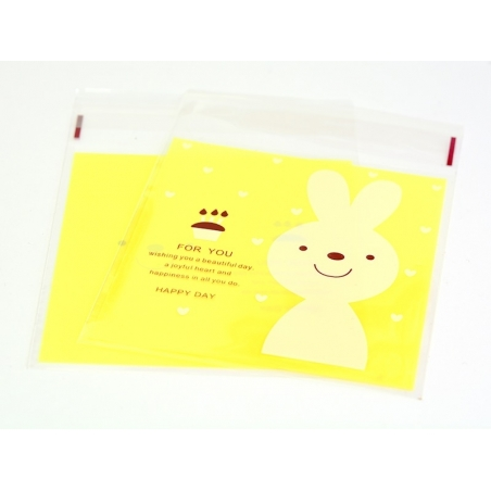 """1 plastic bag with adhesive seal - Bunny on a yellow background, """"For you"""""""