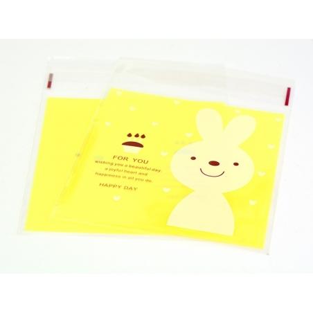 """1 sachet plastique adhésif - Lapin """"for you"""" fond jaune  - 2"""