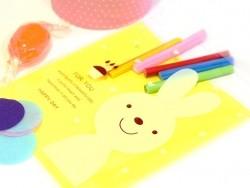 """1 sachet plastique adhésif - Lapin """"for you"""" fond jaune  - 3"""