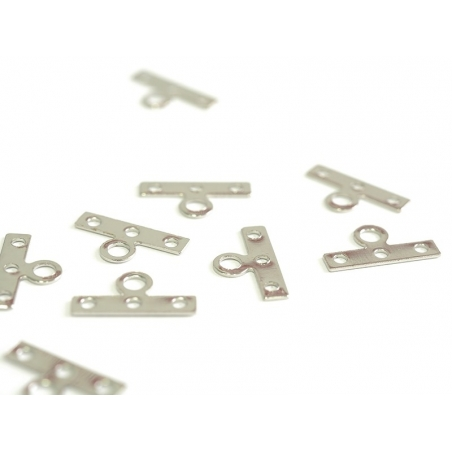 1 spacer charm, 3 holes, 14 mm - silver-coloured