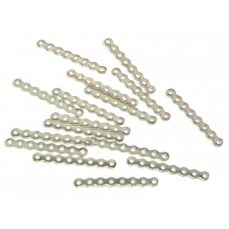 1 spacer charm, 8 holes, 28 mm - silver-coloured