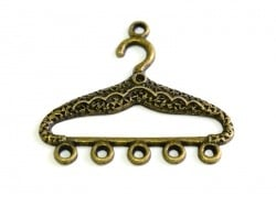 1 spacer charm, 5 holes, 35 mm - bronze-coloured