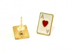 Ace of hearts earrings - gold-coloured