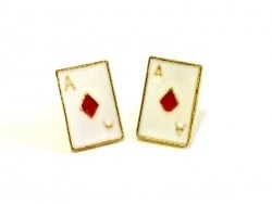 Ace of diamonds earrings- gold-coloured