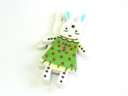 1 wooden button (35 mm) - bunny - green with red polka dots