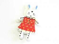 1 Bouton en bois 35 mm - lapin - rouge à pois jaune