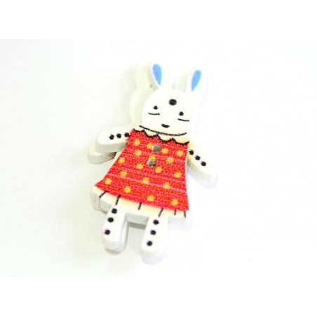 Acheter 1 Bouton en bois 35 mm - lapin - rouge à pois jaune - 0,79€ en ligne sur La Petite Epicerie - Loisirs créatifs