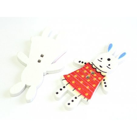 1 wooden button (35 mm) - bunny - red with yellow polka dots