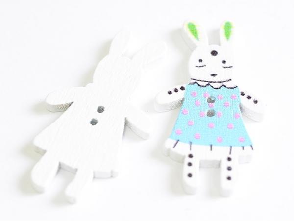 Acheter 1 Bouton en bois 35 mm - lapin - bleu à pois rose - 0,79€ en ligne sur La Petite Epicerie - Loisirs créatifs