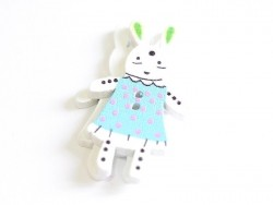 1 wooden button (35 mm) - bunny - blue with pink polka dots