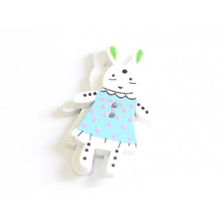 1 Bouton en bois 35 mm - lapin - bleu à pois rose