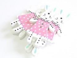 Acheter 1 Bouton en bois 35 mm - lapin - rose à pois blanc - 0,79€ en ligne sur La Petite Epicerie - Loisirs créatifs