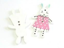 1 Bouton en bois 35 mm - lapin - rose à pois blanc
