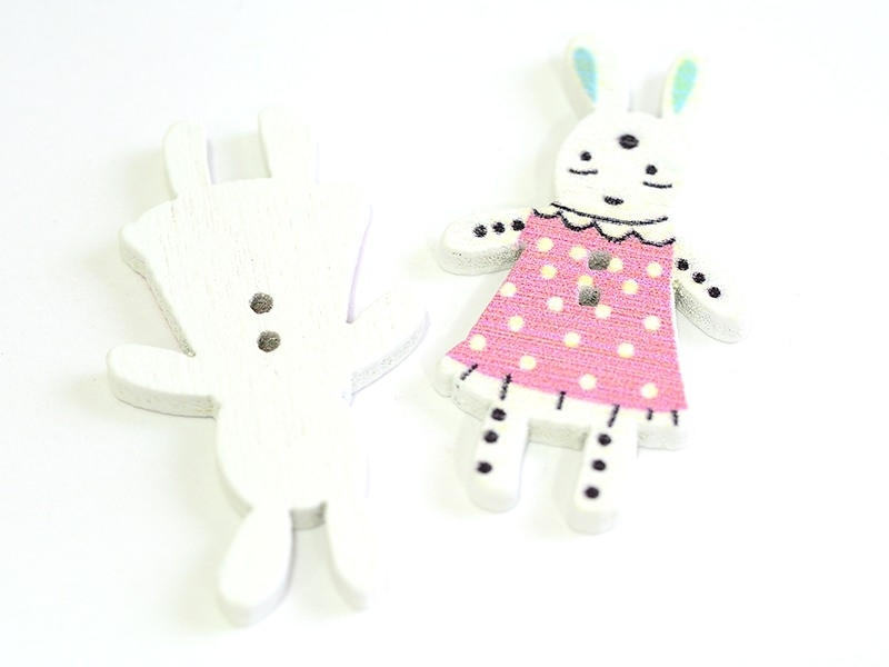 1 wooden button (35 mm) - bunny - pink with white polka dots