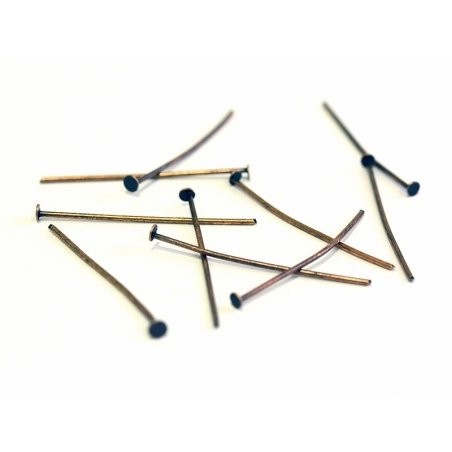 10 copper-coloured head pins - 30 mm
