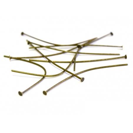 10 bronze-coloured head pins - 50 mm