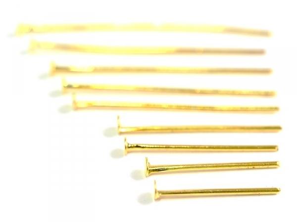 900 clous couleur or à tête plate - 9 tailles différentes