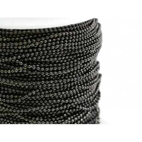 1m chaine bille noir métallisé - 1,5 mm  - 2