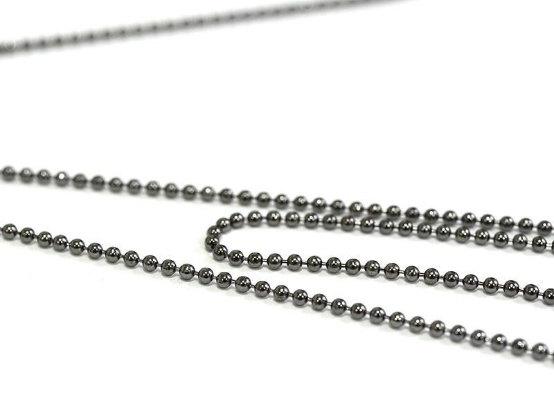 Metallic black ball chain (1 m) - 1.5 mm