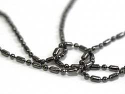 Metallic black ball chain (1 m) with chain links in different sizes - 1.5 mm