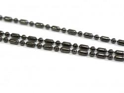 1m chaine bille maille alternée noir métallisé - 1,5 mm