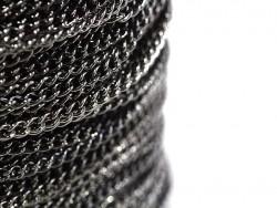 1m chaine gourmette moyenne 3,7 mm - noir métallisé  - 1