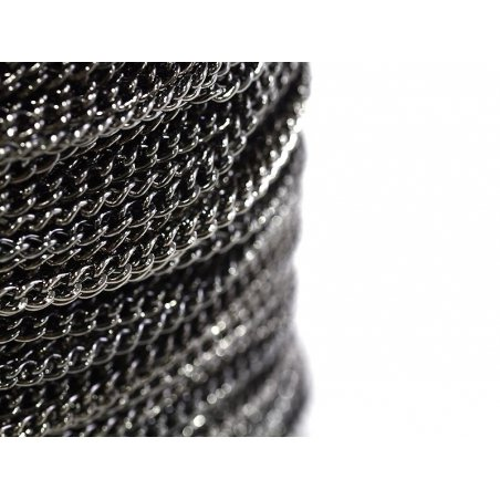 1 m of middle-sized curb chain, 3.7 mm - metallic black