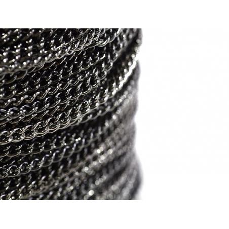 1m chaine gourmette moyenne 3,7 mm - noir métallisé