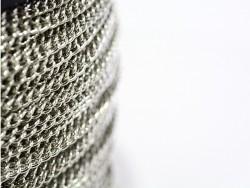 1m chaîne gourmette - couleur argent  - 3,7 mm  - 1