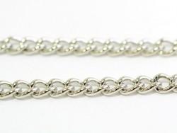 1m chaîne gourmette - couleur argent  - 3,7 mm